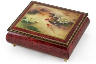 "Ercolano MusicBoxAttic Handcrafted Music Box with Painted Scene ""Lily Pond"" by Lena Liu - With One Look (From Sunset Blvd) - SWISS"