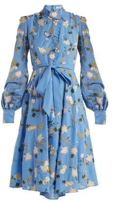 Erdem Neville Mariko Meadow Print Cotton Dress - Womens - Blue Multi