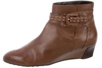Tod's Leather Wedge Booties Brown Leather Wedge Booties