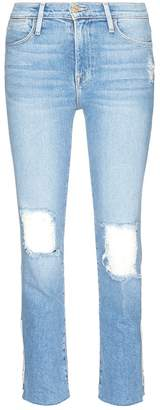 Frame 'Le High Straight' ripped jeans