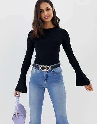 Asos Design DESIGN skinny crew neck sweater with flared sleeve