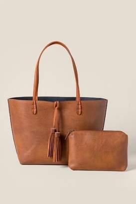francesca's Fiona Vegan Leather Tote - Brown