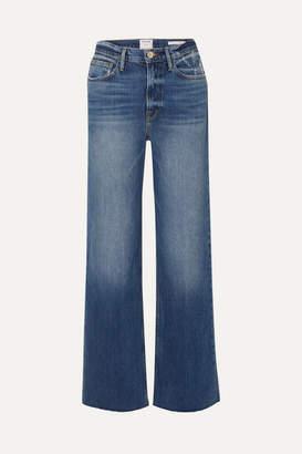 Frame Le California Frayed High-rise Wide-leg Jeans - Indigo