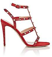 Valentino Women's Rockstud Suede Multi-Strap Sandals-Red