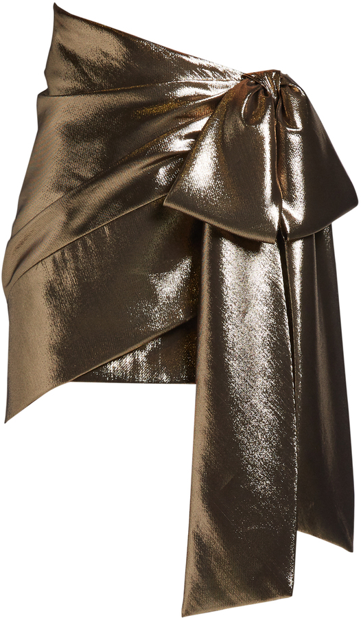 Saint LaurentSAINT LAURENT Tie-side ruched lamé mini skirt