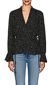 Derek Lam 10 Crosby Women's Abstract Silk Peplum Blouse - Black