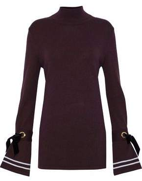 Mother of Pearl Velvet-Trimmed Wool-Blend Turtleneck Sweater