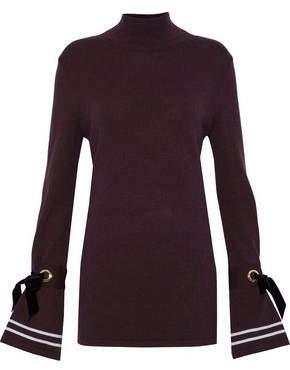 Mother of Pearl Velvet-Trimmed Wool-Blend Turtleneck Sweater