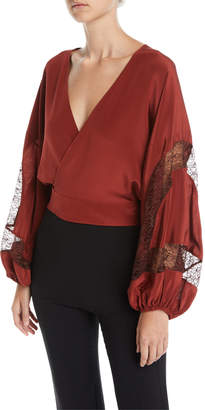 Elizabeth and James Talia Silk Wrap Top with Lace Inserts