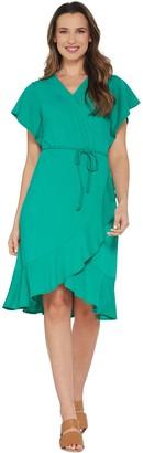 Isaac Mizrahi Live! Pebble Knit Wrap Dress with Ruffle Hem