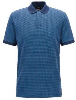 BOSS Hugo Slim-fit polo shirt three-colored micro pattern M Blue