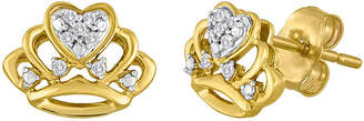 FINE JEWELRY Diamond-Accent 10K Yellow Gold Crown Earrings