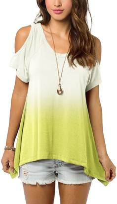 Urban CoCo Women's Shoulder Off Gradient Color Tunic Top Shirt (L, )