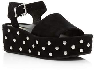 Kenneth Cole Women's Danton Studded Suede Platform Wedge Sandals