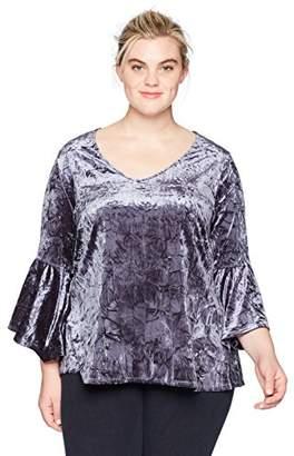 Karen Kane Women's Plus Size Velvet Bell Sleeve Top