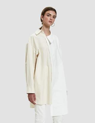 Awake Contrast Asymmetric Shirt in White/Cream