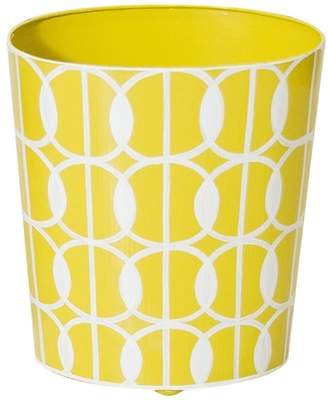 Worlds Away Yellow and Cream Wastbasket