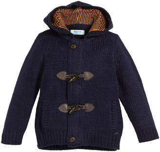 Mayoral Hooded Knit Toggle-Front Cardigan Sweater, Size 3-7
