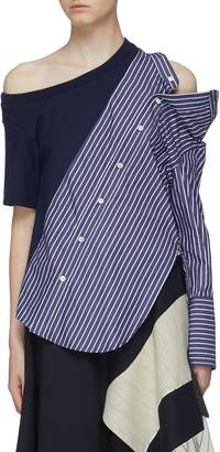 Monse Stripe shirt panel asymmetric cutout shoulder blouse