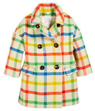 Burberry Angella Rainbow Check Virgin Wool Pea Coat, Size 4-14