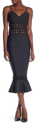 Wow Couture Flounce Hem Midi Bandage Dress