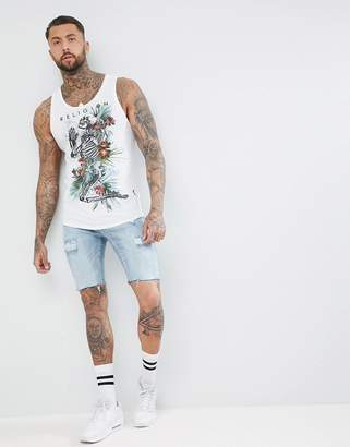 Religion Longline Tank In White With Curved Hem And Praying Skeleton Print