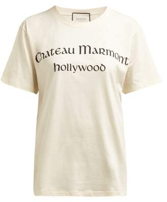 Gucci Chateau Marmont Print Cotton T Shirt - Womens - Ivory Multi