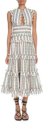Proenza Schouler Keyhole-Front Sleeveless Boucle Open-Weave Long Tiered Dress