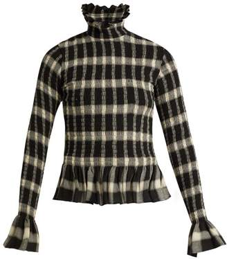MM6 MAISON MARGIELA Checked Peplum Top - Womens - Black White