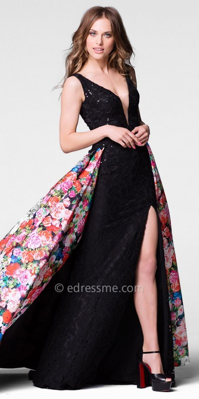 Tarik Ediz Prom Plunging Sequin Lace High Slit Column Prom Dress with Detachable Overskirt