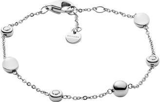 Skagen Sea Glass Silver Tone Station Bracelet