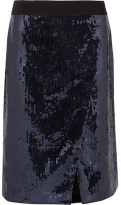Victoria Beckham Victoria, Sequined Chiffon Wrap-effect Skirt - Navy