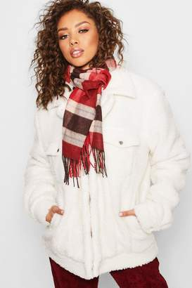 boohoo Large Red Check Scarf