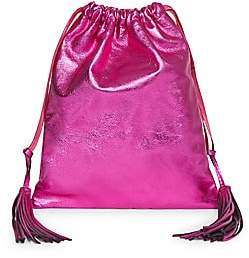 ATTICO Women's Fuchsia Lamé Leather Pouch