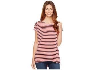 Allen Allen Stripe Cap Sleeve High-Low Crew Women's Clothing