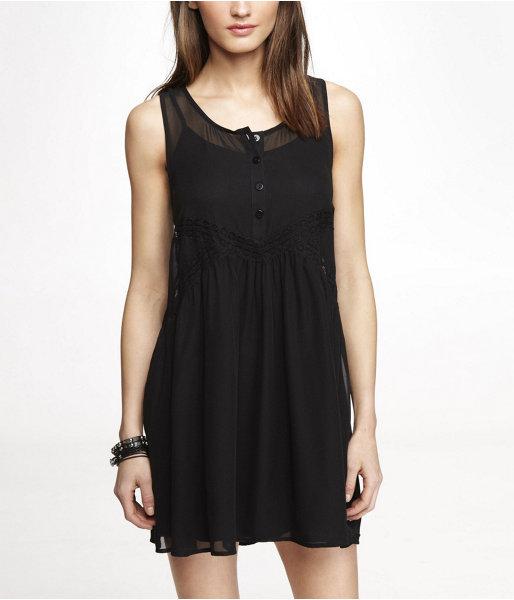 Babydoll Lace Inset Chiffon Dress