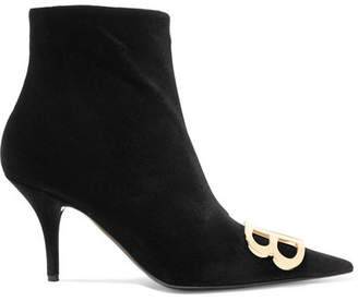 Balenciaga Knife Logo-embellished Velvet Ankle Boots - Black