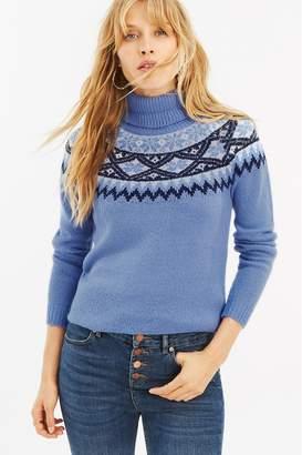 Oasis Womens Blue Abigail Fairisle Pattern Jumper - Blue