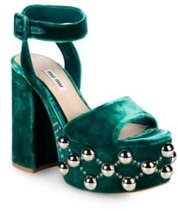 Miu Miu Studded Velvet Ankle-Strap Platform Sandals
