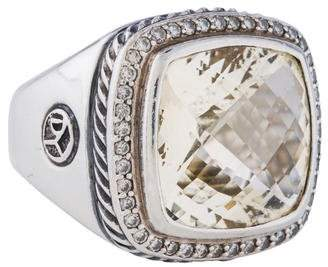 David Yurman Yellow Quartz & Diamond Albion Ring