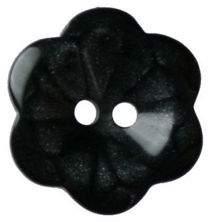 Hemline Two Hole Black Flower Buttons 15Mm 5Pk