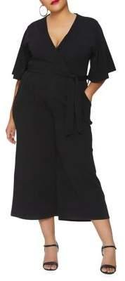 Quiz Curve Plus Faux Wrap Culotte Jumpsuit