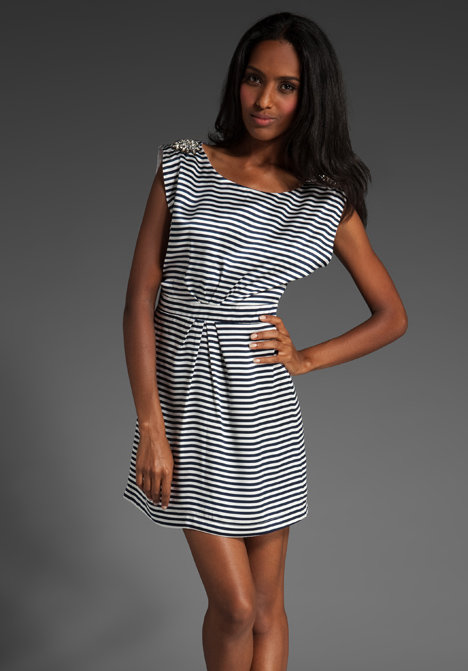 wren Alexa Shoulder Embellishment Stripe Dress