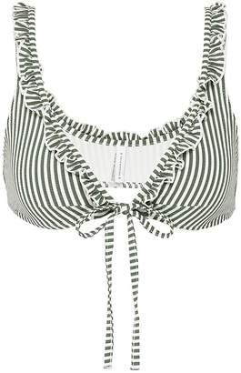 Solid & Striped 'The Milly' ruffle stripe seersucker bikini top