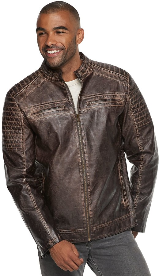 Xray Men's XRAY Slim-Fit Washed Faux-Leather Moto Jacket