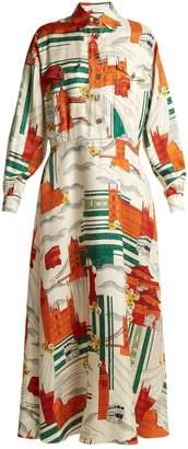 Gucci Cities-print silk-twill dress