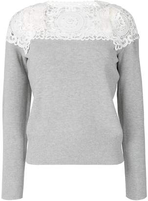 Sacai lace-panelled sweater