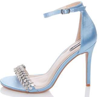Quiz Blue Satin Jewel Sandals