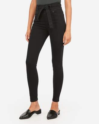 Express Super High Waisted Black Denim Perfect Ankle Leggings