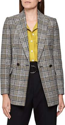 Reiss Leighton Windowpane Check Double Breasted Blazer